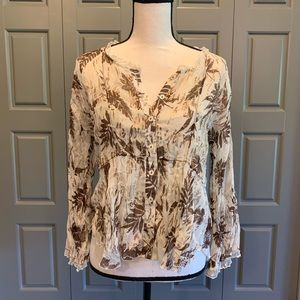 Coldwater Creek Golden Foil Button-Up Blouse